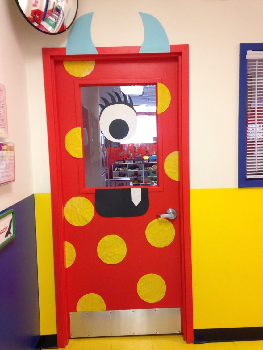 Improvised my classroom door monster!! Love it 5th grade math - Halloween Classroom Door Decorations