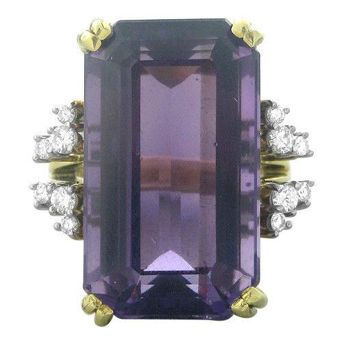 Estate H Stern 18K Gold Platinum Diamond 30ct Amethyst Ring