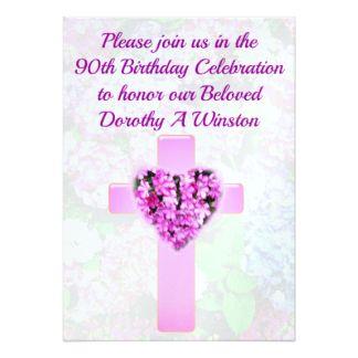 PRETTY FLORAL CHRISTIAN 90TH BIRTHDAY INVITATION Beautiful And Joyous 90th Birthday Invitations