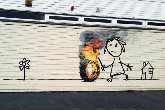 Banksy Art Print Burning Tire Multiple Paper Sizes Etsy Banksy Mural Banksy Art Street Art