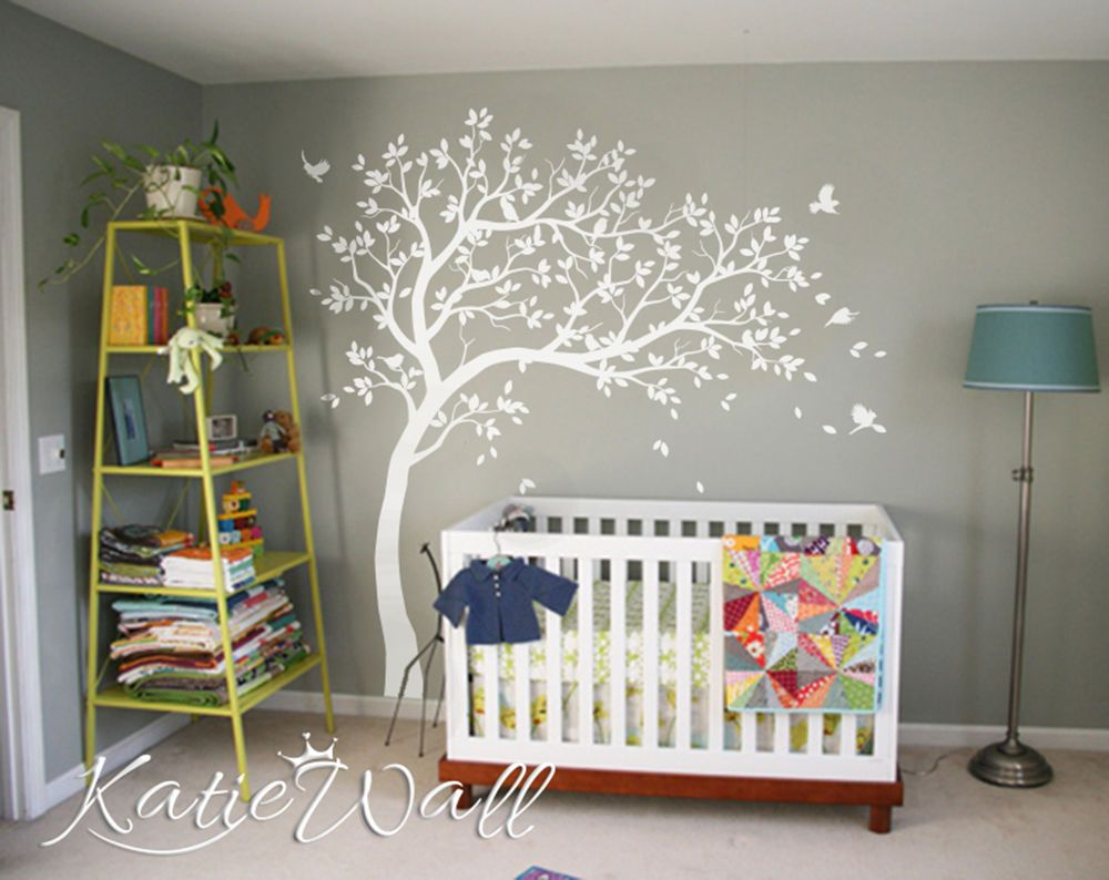 Studio Quee White Tree Wall Decals Wall Tattoo Large Nursery Tree Decals Wall Mural Removable Vinyl Wall Sticker KW032R