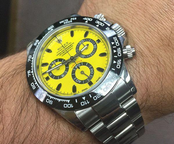 Rolex Daytona Steel Yellow & Black Face / Black Ceramic Bezel