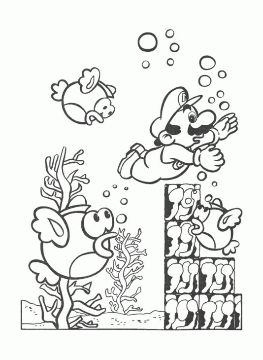 Super Mario Swimming Underwater Coloring Page