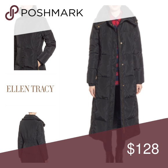 Ellen Tracy Techno Down Maxi Coat PHOTOS TO COME A down-insulated commuter coat offers a long length of cozy warmth in a flattering fitted silhouette accentuated with chevron quilting at the sides and a ruched inset at the back waist. A collar that zips up into a tall tunnel adds a chic touch. Storm placket with zip/snap closure. Convertible funnel collar with drawcord. Long sleeves with elasticized cuffs. Front zip pockets. Water resistant. 80% down, 20% feather fill. 100% polyester shell…