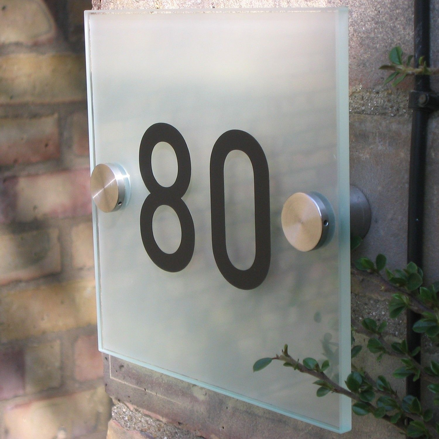 Glass House Sign Small Modern Frosted Glass 15 cm House Sign
