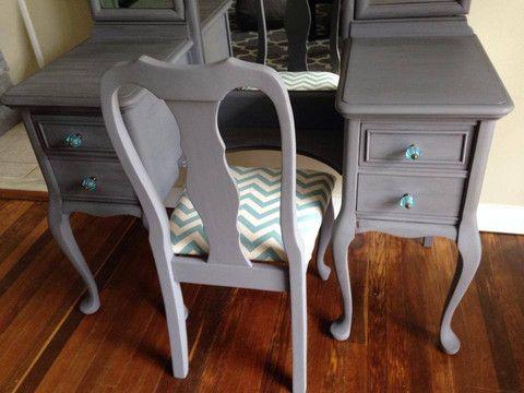 Antique Vanity With Tri Fold Mirror U0026 Matching Chair U2013 RVA Furniture Works