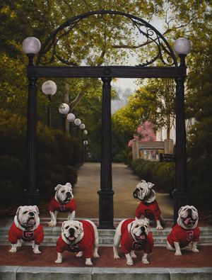 Georgia Bulldogs Uga Mascot 50 Years Uga Arch Painting Georgia