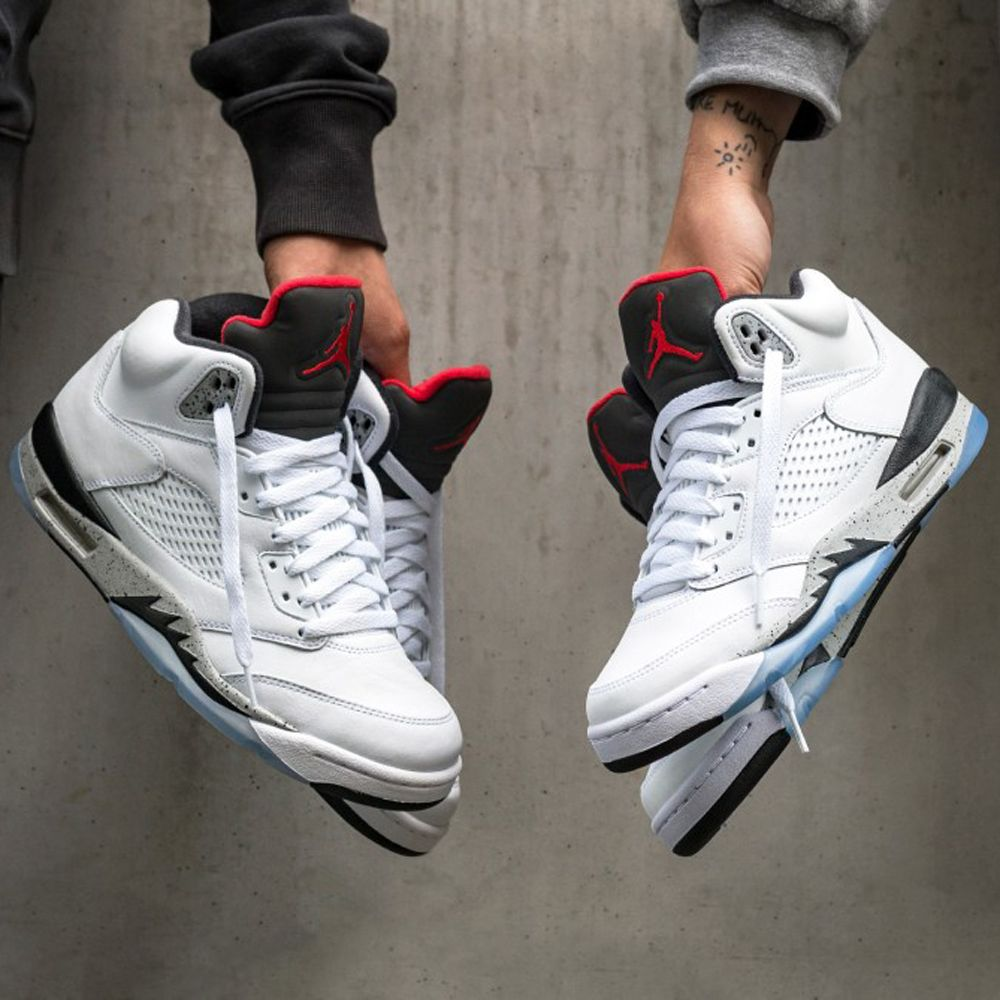 check out 98982 fb49e 136027-104 Nike Air Jordan 5 Retro White Cement   KicksCrew   Shop and Buy  it Now!!