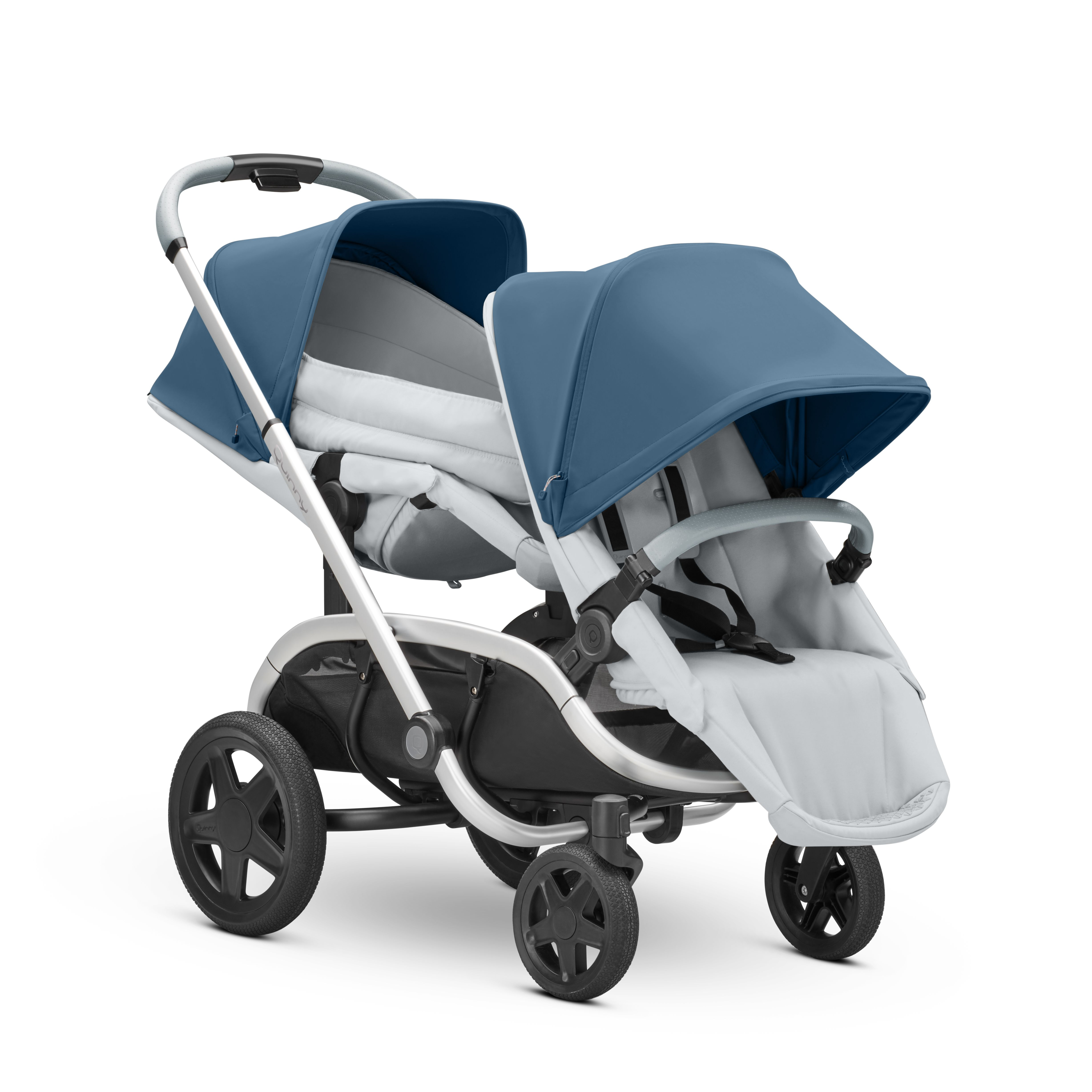 Stroll in style with our Blue Coral on Grey. Our Quinny