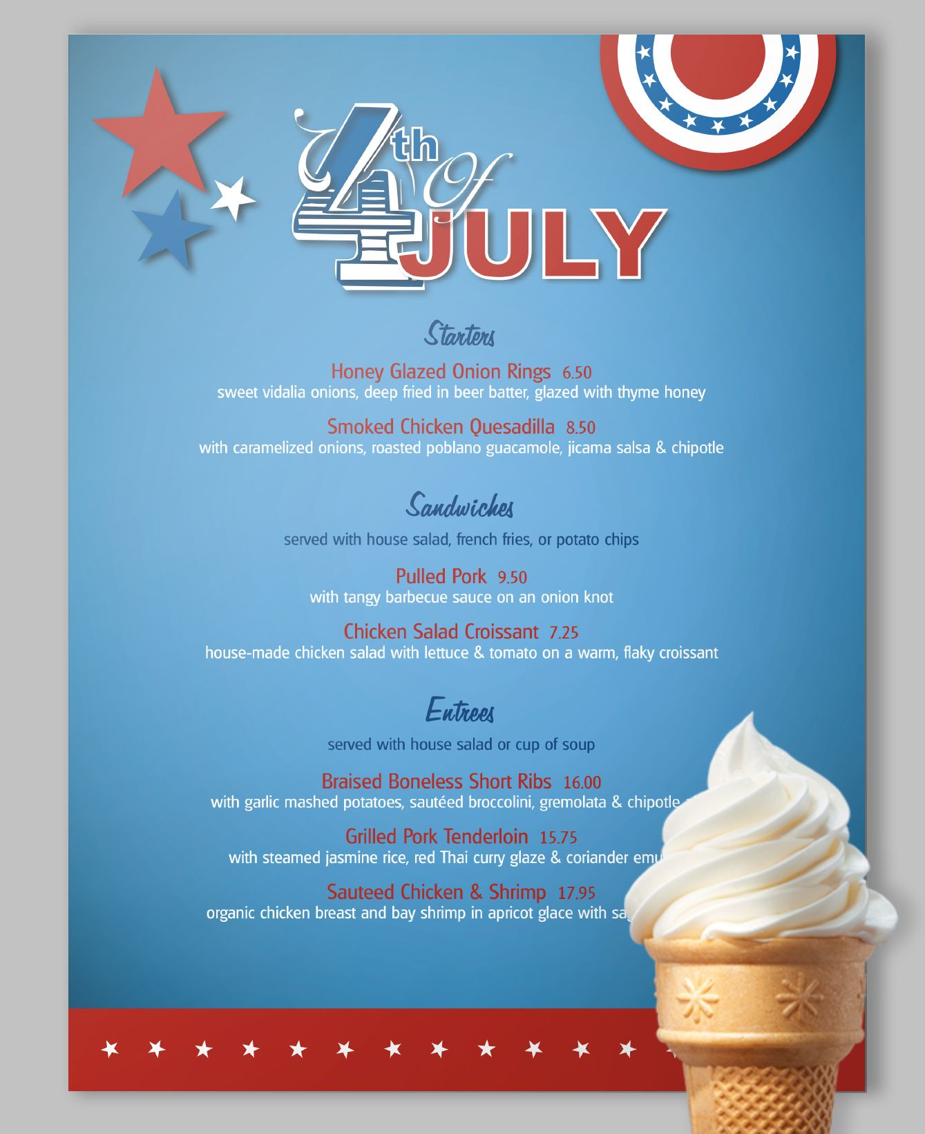 a bright n shiny july 4th menu template update with your