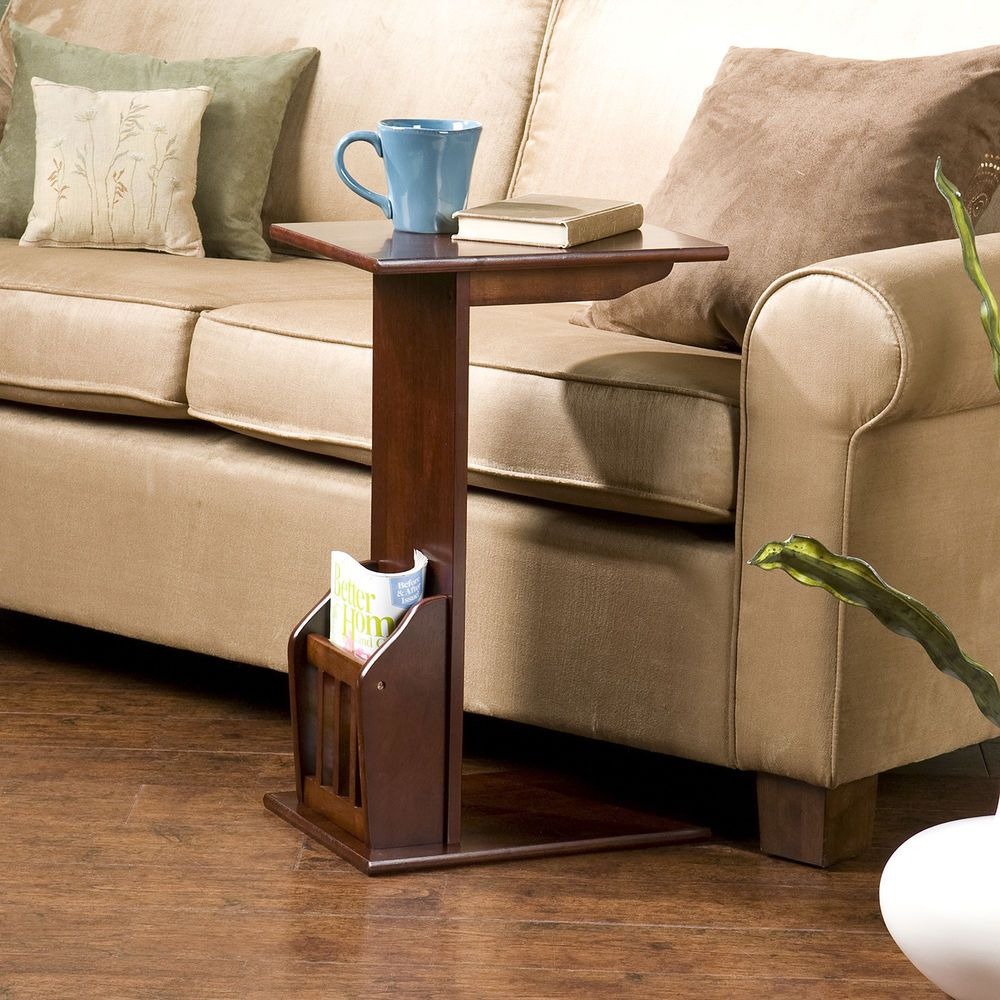 Coffee End Table, Slide Under Couch Bed Side Wood Magazine Rack Holder Brown