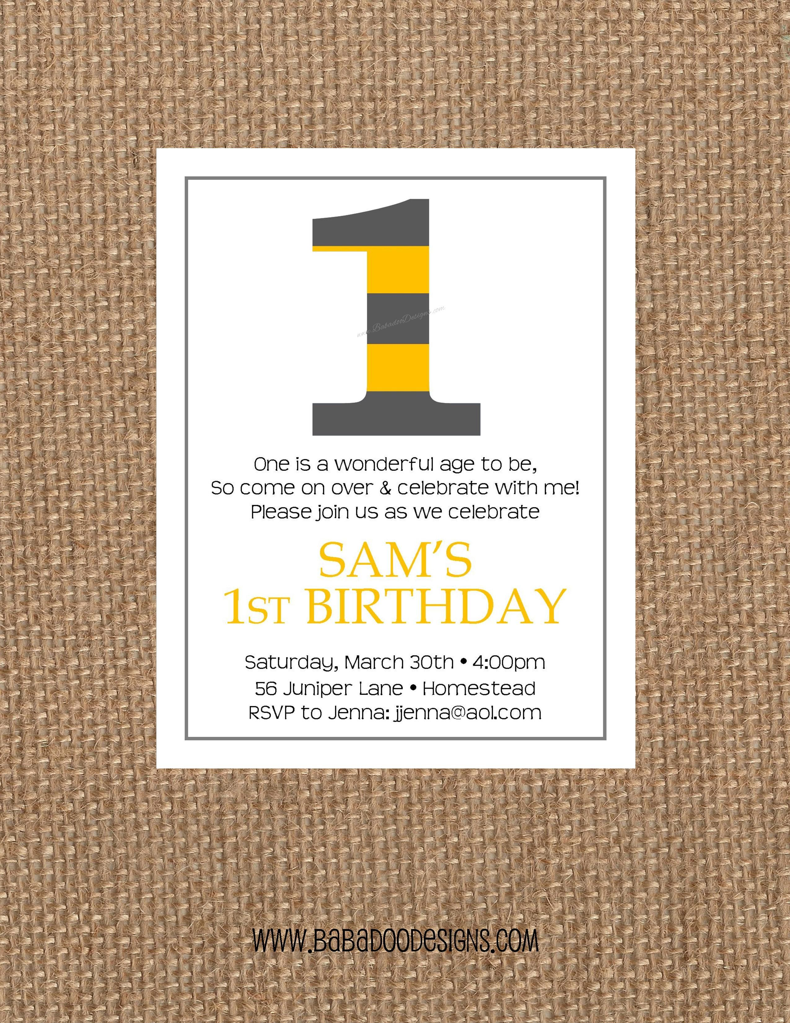 Number Invitation: choose your stripe colors  www.BabadooDesigns.com