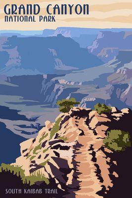 South Kaibab Trail Grand Canyon National Park Lantern Press Poster