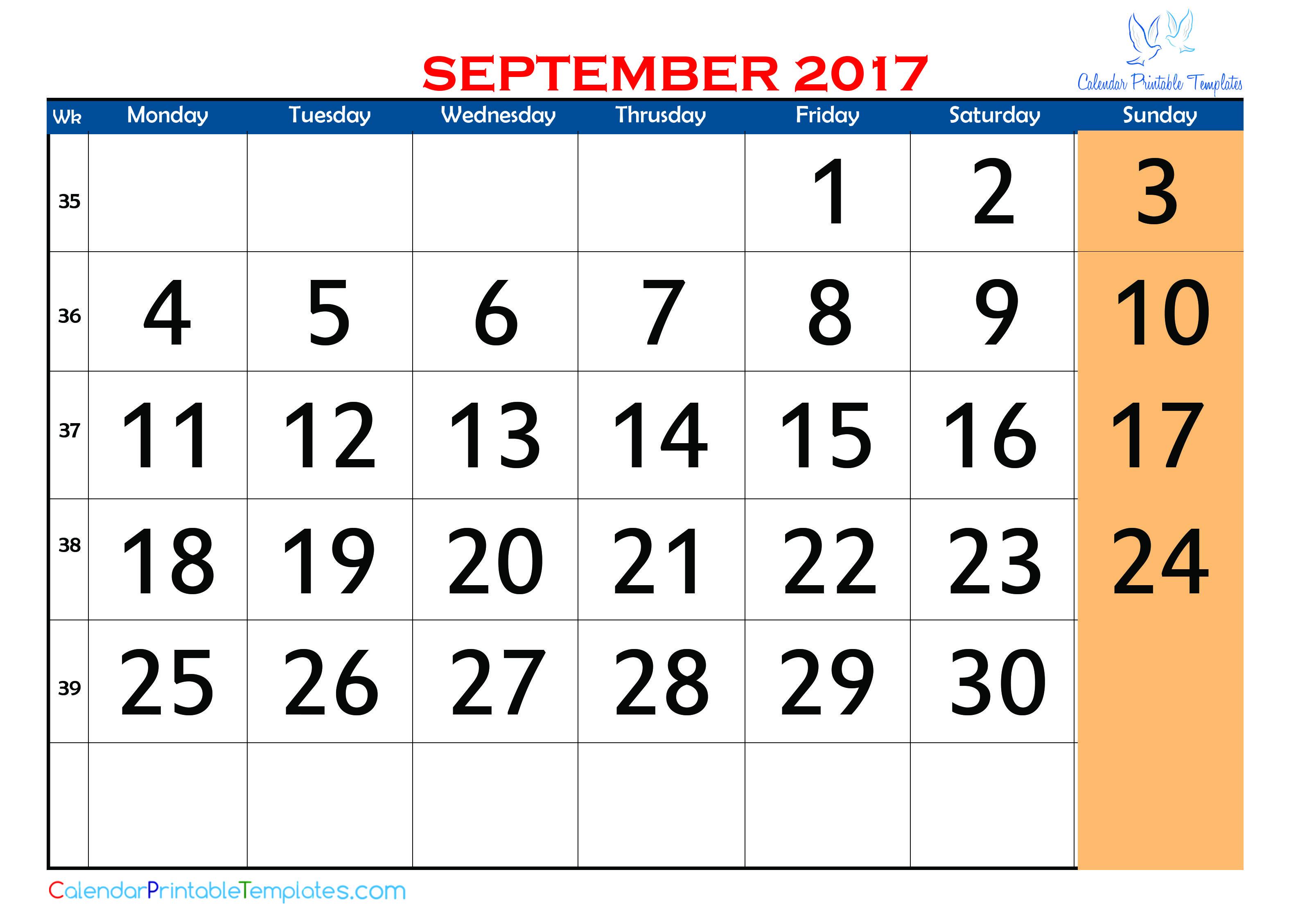 September 2017 Calendar Pdf Http Www Calendarprintabletemplates