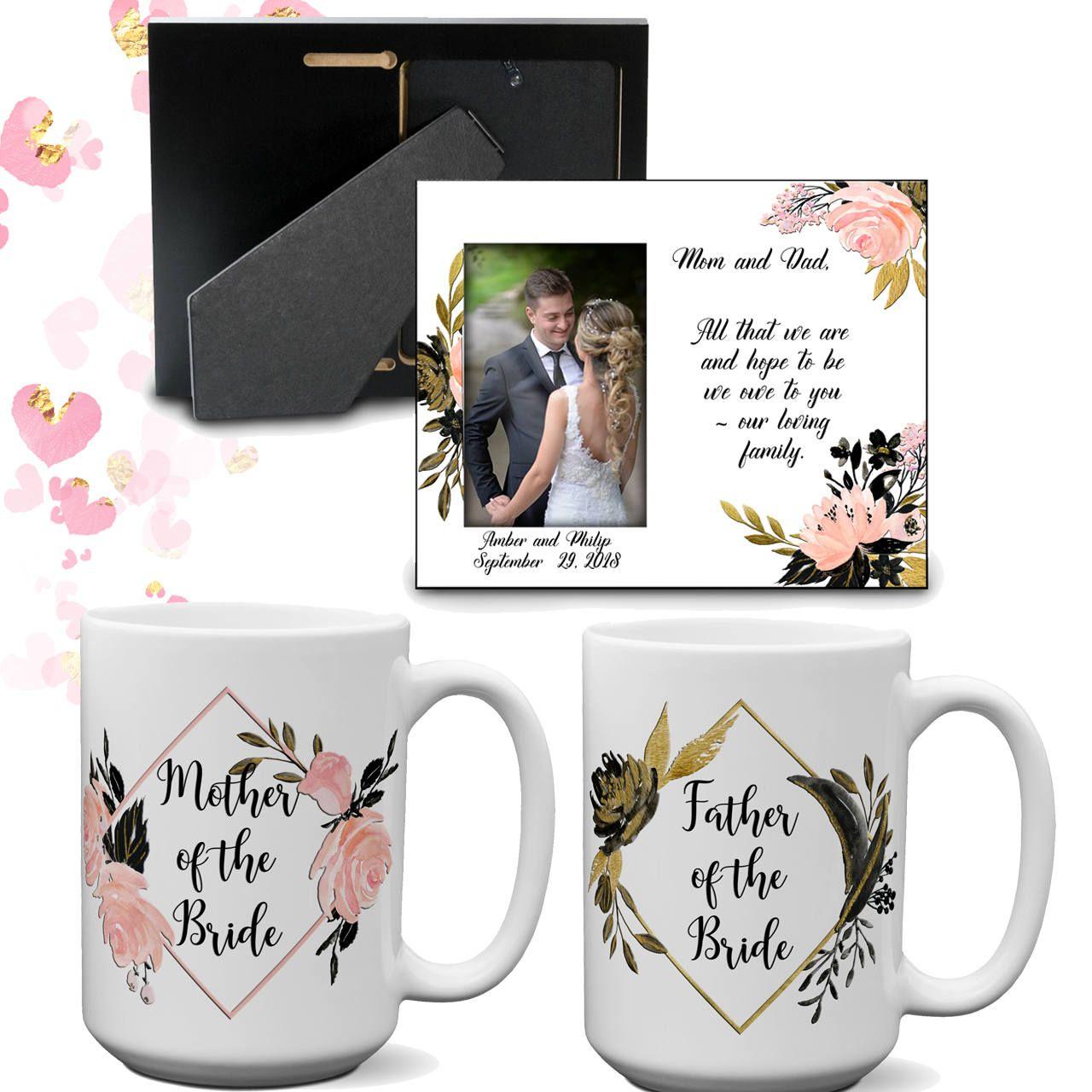 c02ab171847 Parent Wedding Gift Thank You Set | Wedding Frame | Mother of the Bride  Groom Mug | Father of the Bride Groom Cup | Parent Gift Box by JuliesHeart  on Etsy