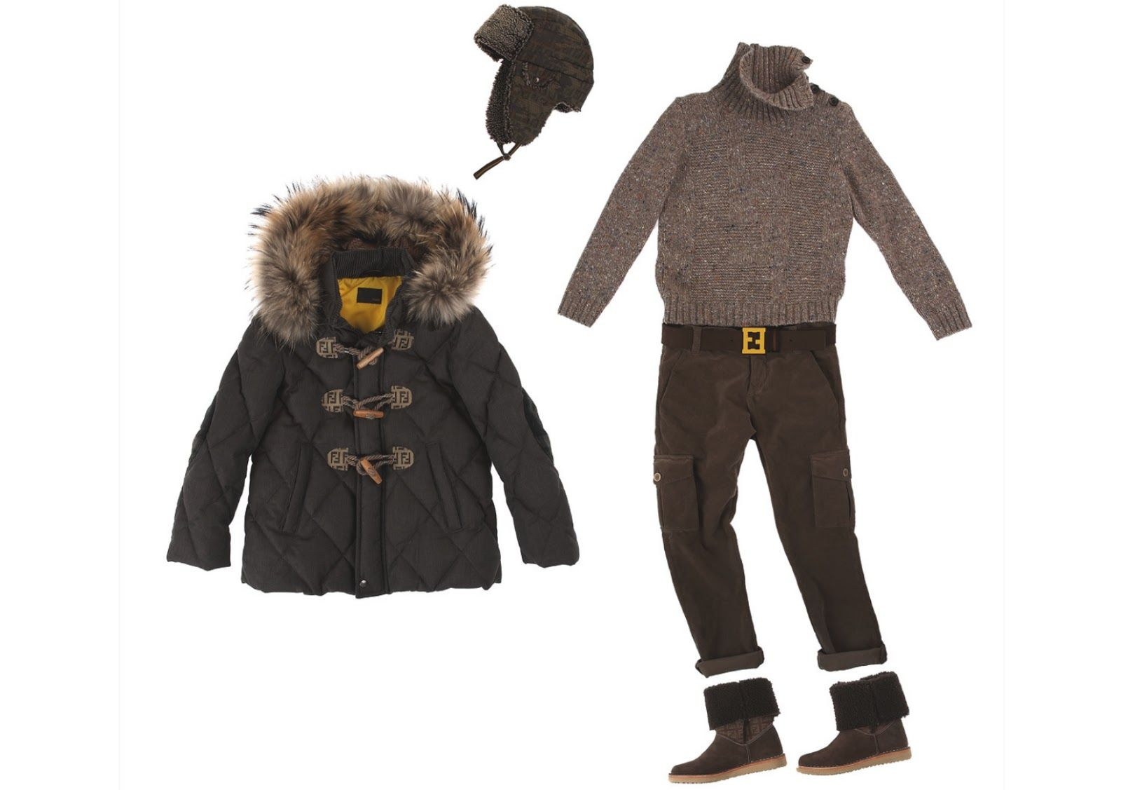 """Fendi Kids AW 13 collection:""""Nature inspires the new adventures of young Fendi fans, in a play of sophisticated colours and precious materials with a casual chic feel..."""" Silvia Venturini Fendi."""