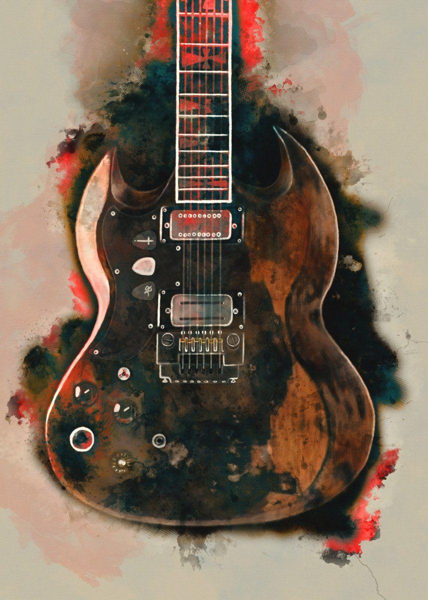 Tony Iommi Electric Guitar Metal Poster Print Abraham Szomor Displate In 2020 Guitar Art Music Room Decor Music Wall Art