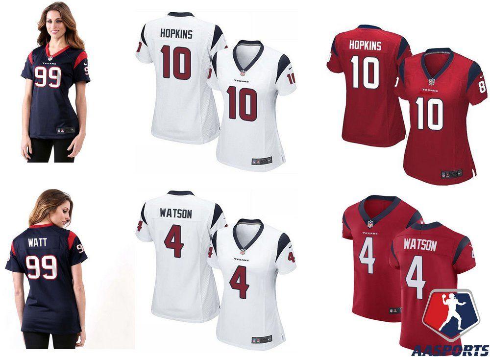 3630a3f2be Camisa Houston Texans - FEMININA - 4 Deshaun Watson - 10 DeAndre Hopkins -  99 JJ
