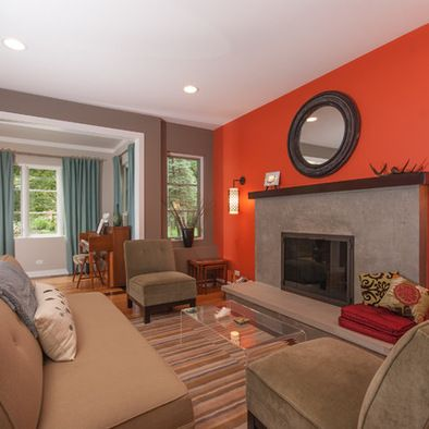 Orange Accent Wall Living Room Simple Home Decoration Burnt