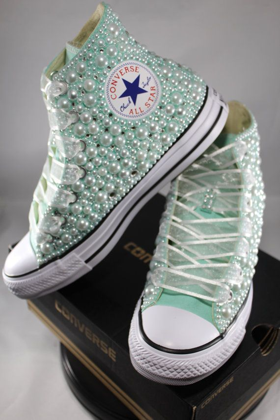 0137a850d10 Bridal Converse- Wedding Converse- Bling   Pearls Custom Converse Sneakers-  Personalized Chuck Taylors- All Star Converse Sneakers- Bride
