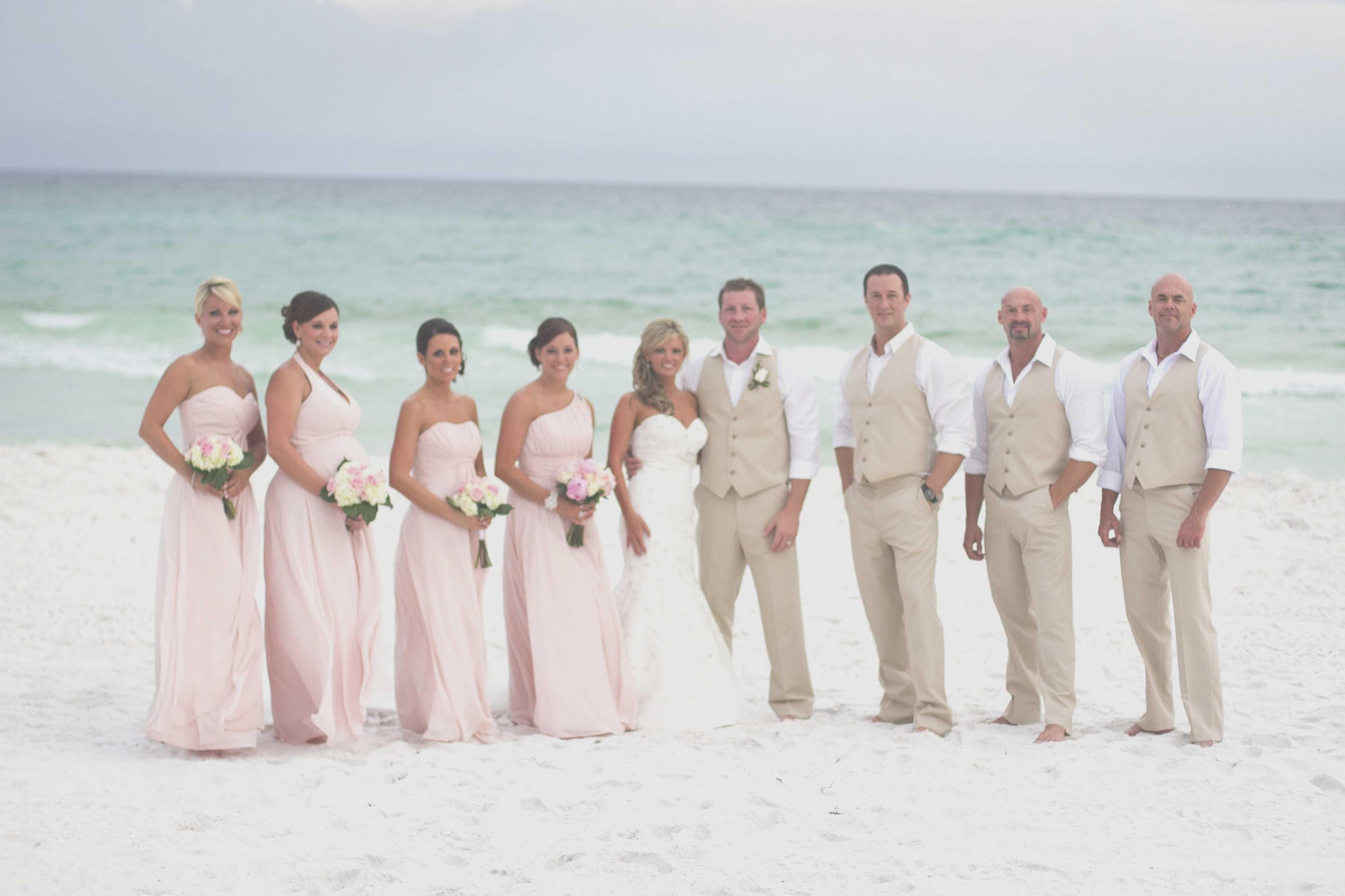 Elegant Groomsmen Attire Tan Champagne Bridesmaid Dresses Beach