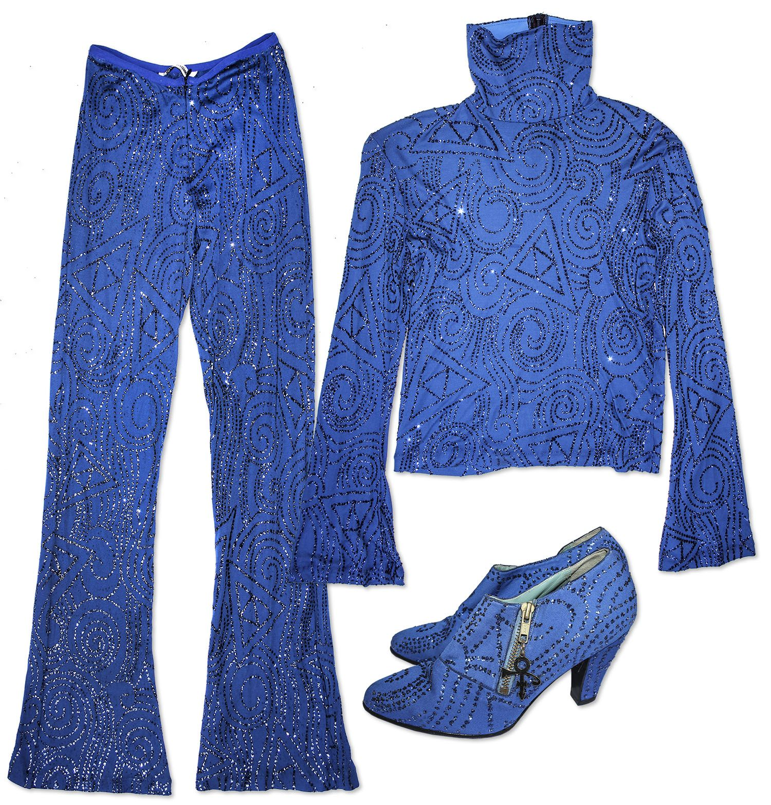 Prince worn blue ensemble. Custom-made stage costume features ...