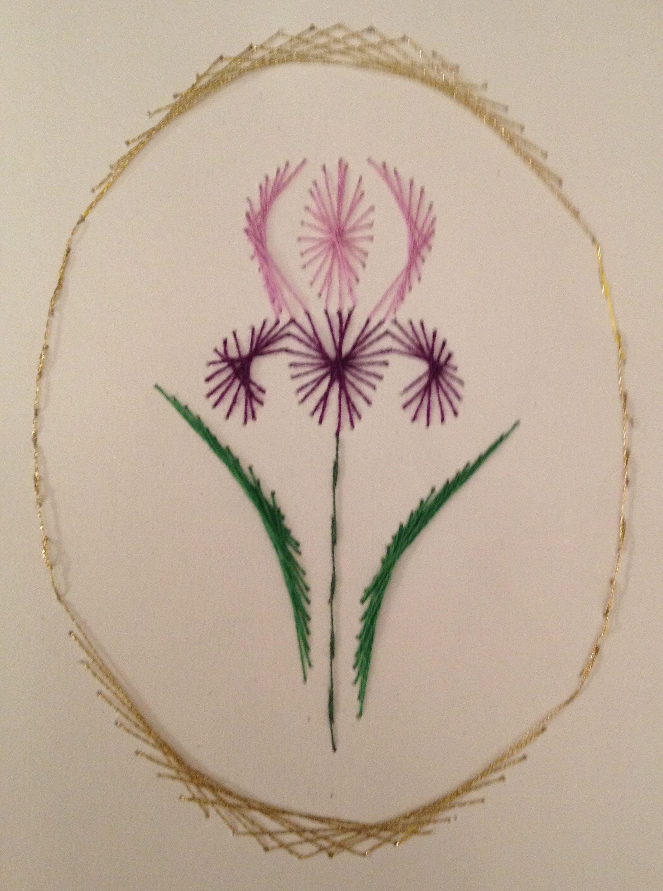 Iris stitching card by Pamela Turner | bordados y patrones ...