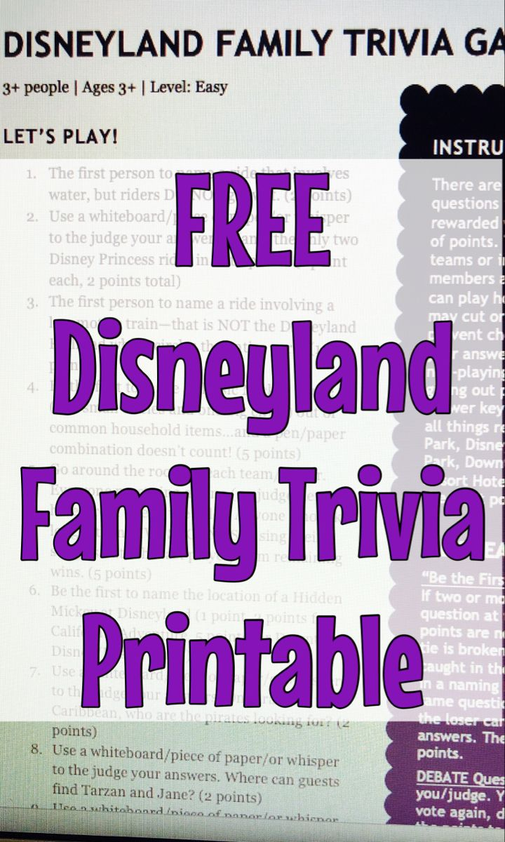 FREE Disneyland Family Trivia Game LEVEL EASY (Printable
