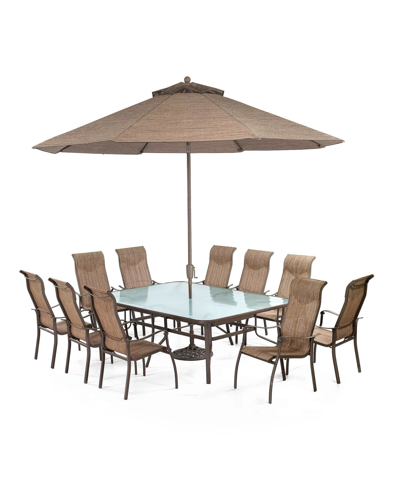 "ONLINE EXCLUSIVE Oasis Outdoor Aluminum 11 Pc Dining Set 84"" x"