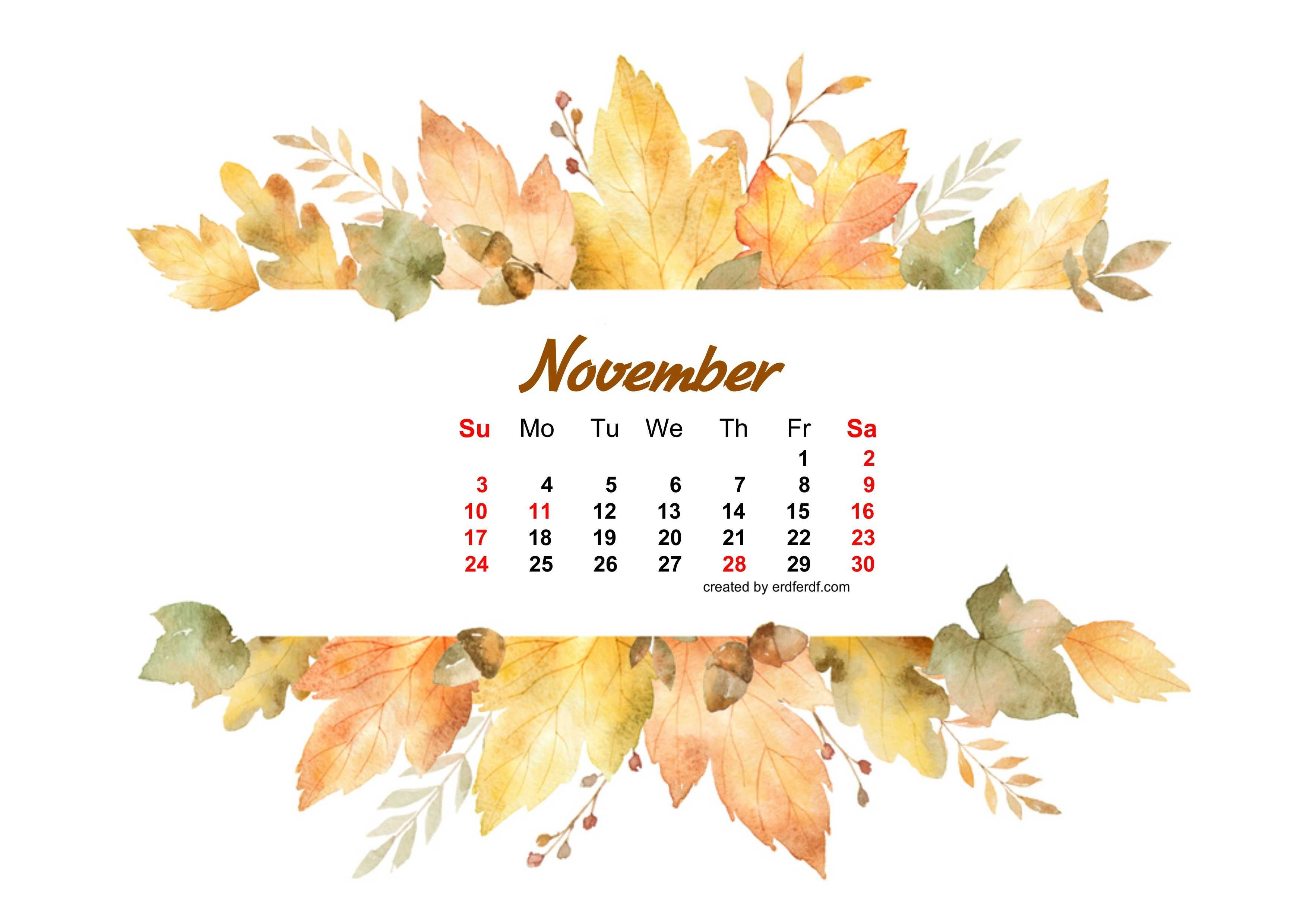 Watercolor Leaf Dried November 2019 Calendar Picture