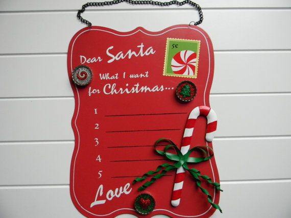 Dear Santa Magnetic Board Dry Erase with a Set of 3 by RaeKaryCaps, $22.00