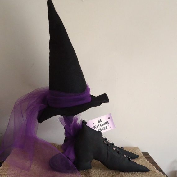 Halloween Witch Hat, Stand And Shoes, Party Decoratios, Halloween Decor,  Tabletop Decor, Gothic