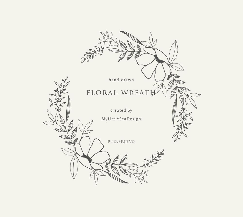 Photo of Hand drawn oval floral wreath on transparent background Botanical framework Ink line illustration | Clipart for wedding invitation SVG PNG