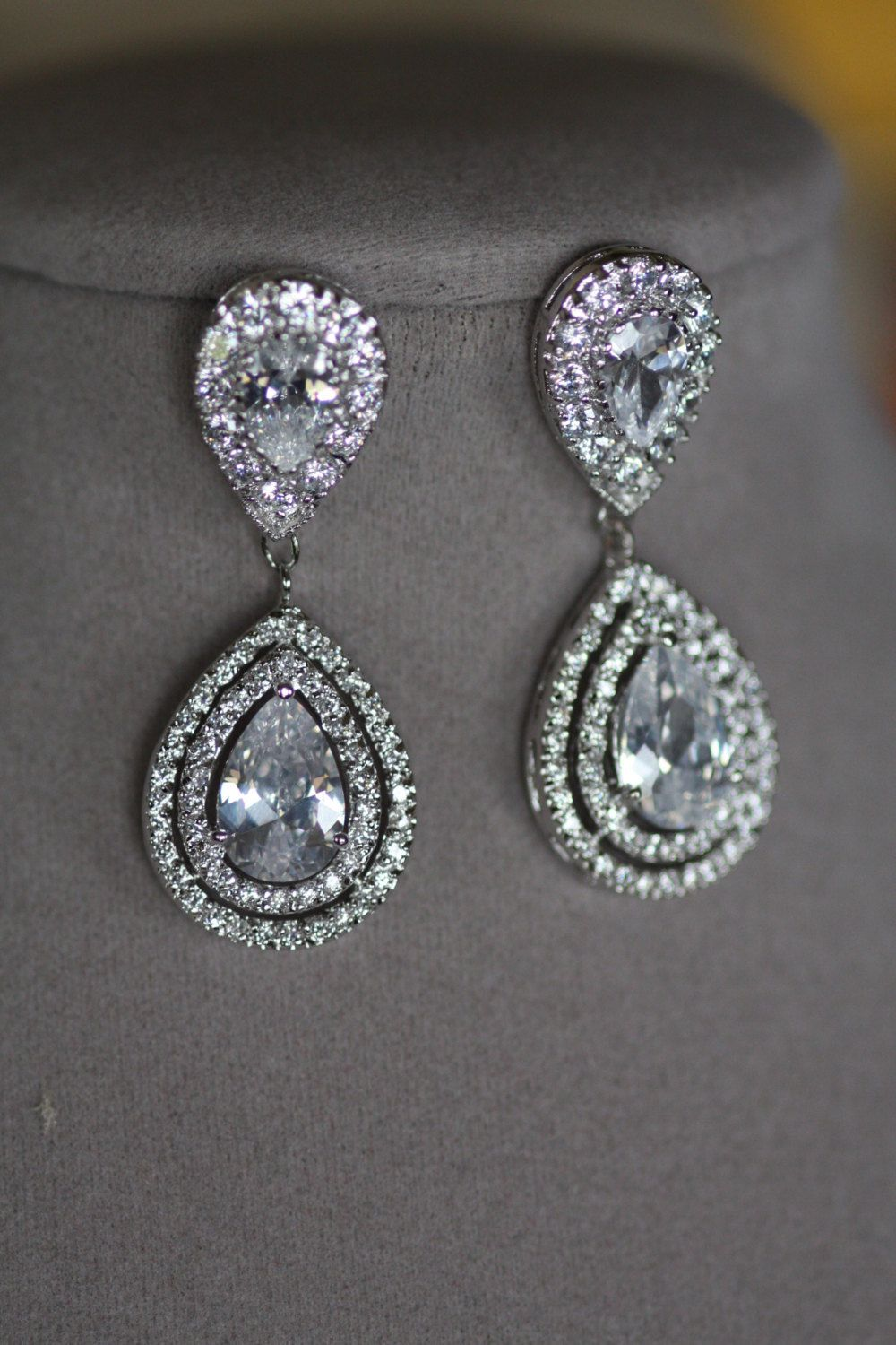Bridal Clip On Earrings Wedding Swarovski Crystal Chandelier Drop Kim Kardashian Cubic Zirconia Statement