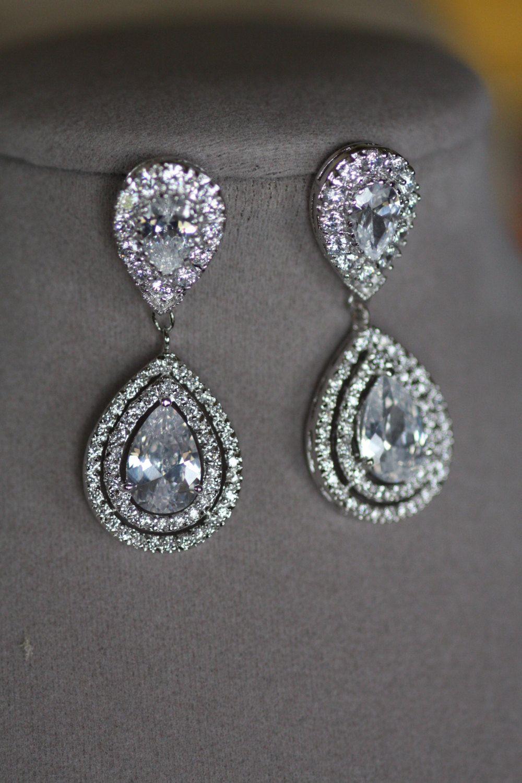 Bridal Clip On Earrings Wedding Swarovski Crystal