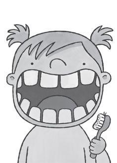 tanden poetsen met een tandenborstel en witte verf met