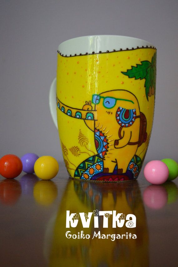 Elephant Mug Yellow Custom Coffe Selfie Ceramic Animal Birthday Gift Painted For Her Him Unique