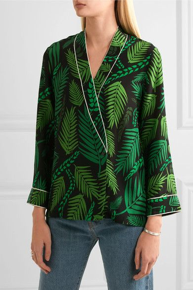 Buy Cheap Low Shipping Fee Free Shipping Low Price Fee Shipping Kate Printed Silk Crepe De Chine Blouse - Green Rixo London Outlet 100% Original Cheap Discounts 7fEdU8D