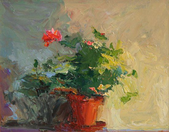 """Get Some Art Gallery Love: Part 1 - ArtistDaily When Tina Tammaro brings a new painting like """"Geraniums"""" (oil, 9 x 12 in.) to one of her galleries, she always comes prepared to update her inventory list as well."""