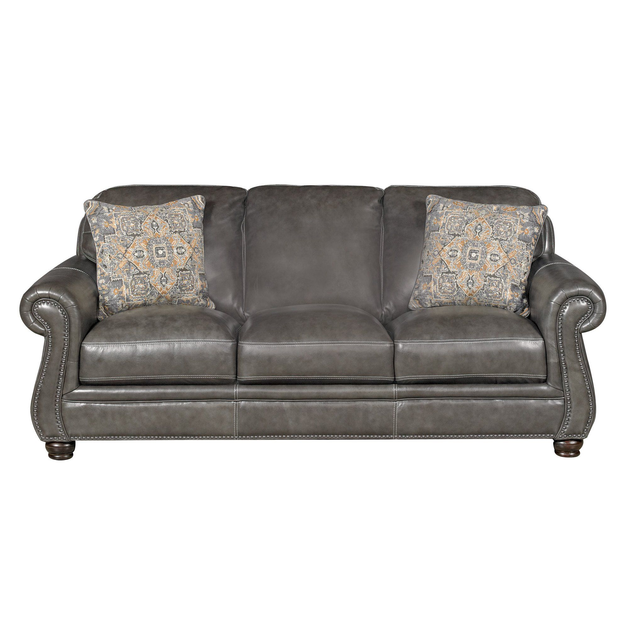 Best Classic Traditional Charcoal Gray Leather Sofa London 640 x 480