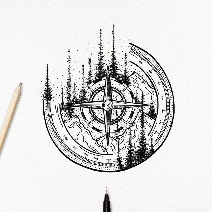 Photo of Amazing Compass and Mountain Tattoo Sketch