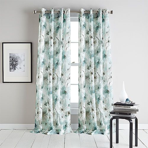 Dkny Modern Bloom Print Sheer Grommet Curtain Panel Grommet