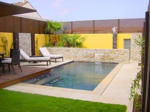 Piscina moderna jardin piscina pinterest piscinas for Piscina en jardin de 100 metros