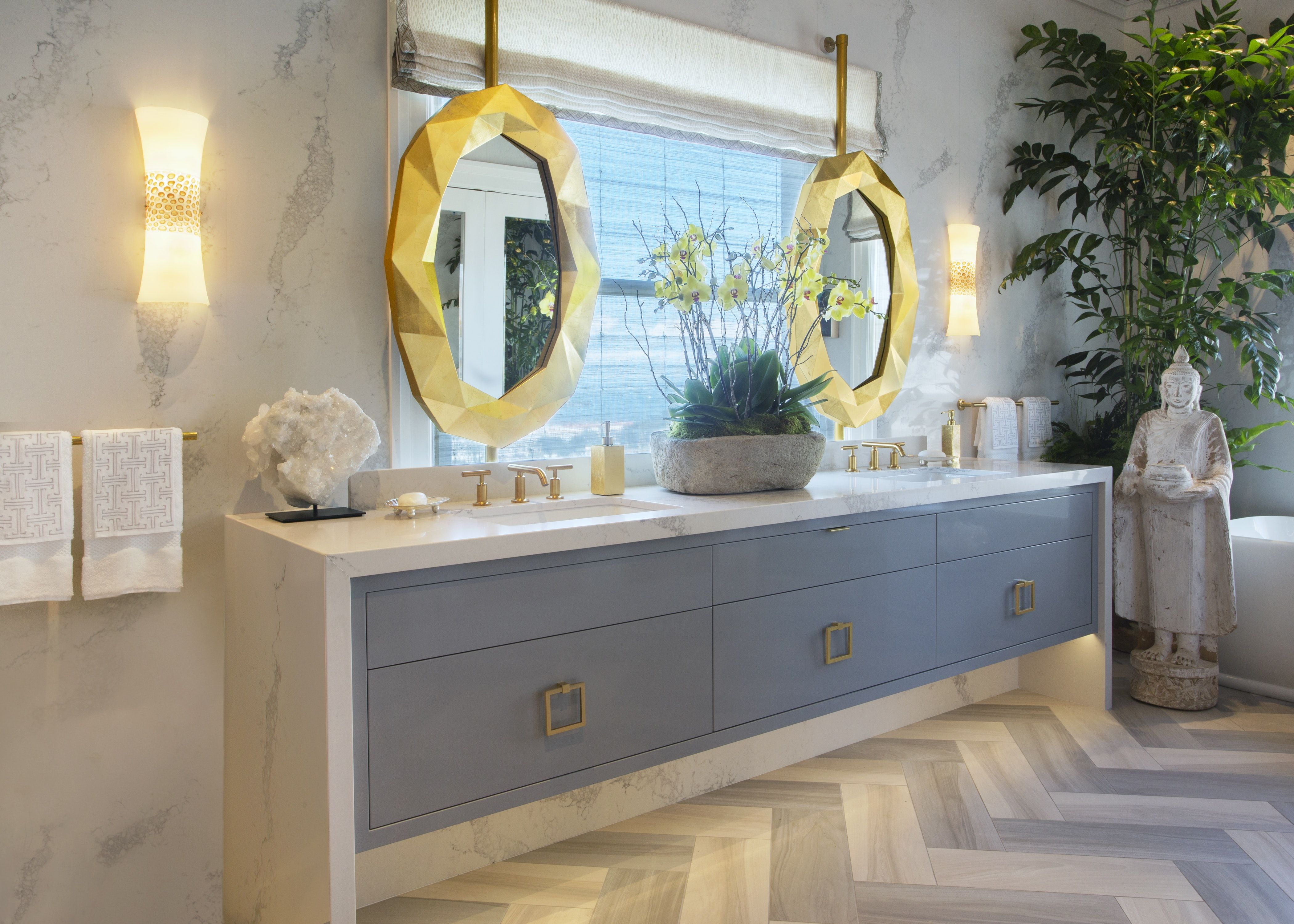 Luxury and glamour meet spastyle in this blissful master bathroom