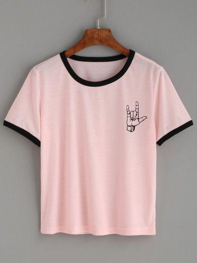 6dac4ceea7 Camiseta estampado gesto amor ribete en contraste - rosa