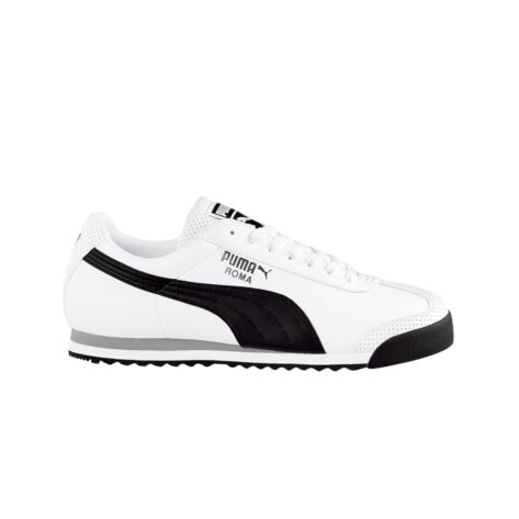 Shop for Mens Puma Roma Leather Athletic Shoe in White Black Silver at  Journeys Shoes.