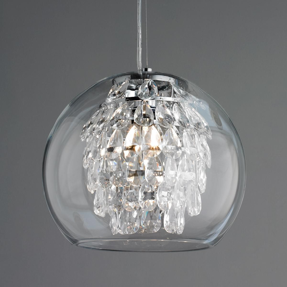 Glass Globe And Crystal Pendant Light