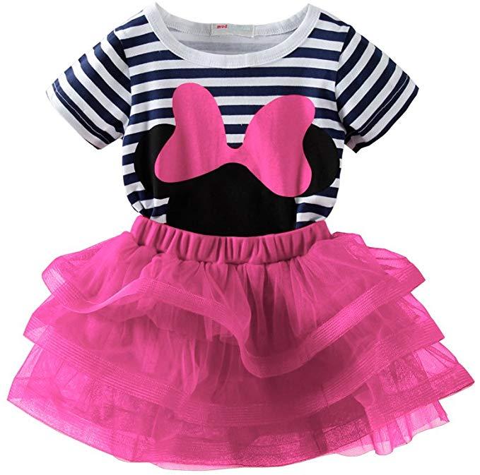Mud Kingdom Toddler Girls Cartoon Cute Set T-Shirt and Tutu Skirt Outfit
