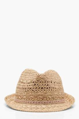 38e713cecfb boohoo Lucy Aztec Trim Straw Trilby Hat  hat  womens
