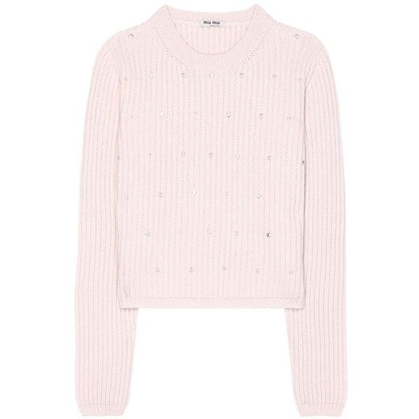Miu Miu Embellished Knitted Cashmere Sweater (18 410 ZAR) ❤ liked on  Polyvore featuring · Pink ... 7559d16e2